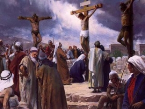 painting of the crucifixion of Christ