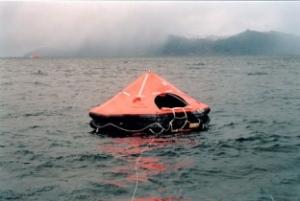 life raft in the sea