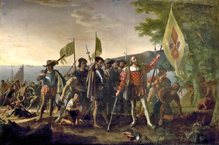 Columbus and his crew arrive in America