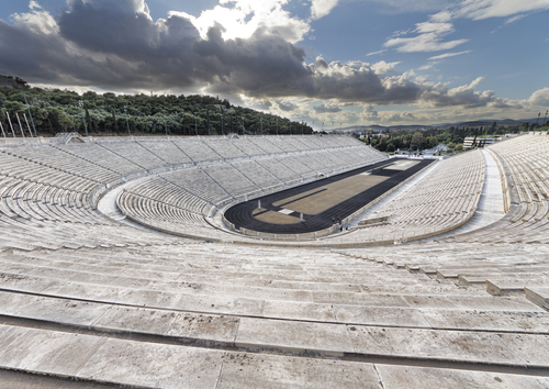 Stones seats and large running of ancient Greece track